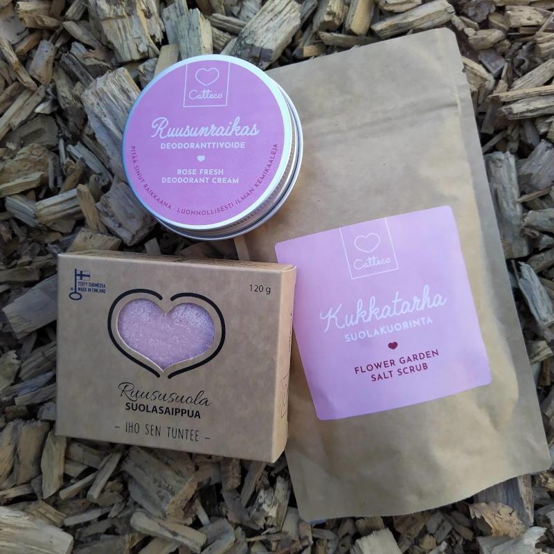 Tuotepaketti - Catteco deodorantti, suolakuorinta ja suolasaippua